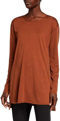 Eileen Fisher Jewel-Neck Long-Sleeve Jersey Front Tunic w/ Silk Back