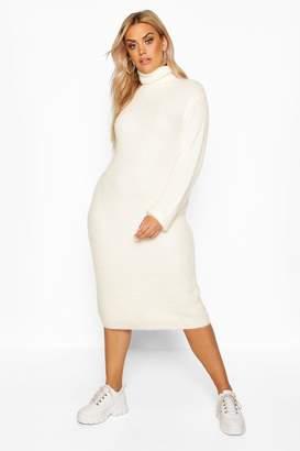 boohoo Plus Premium Soft Knit Roll Neck Midi Jumper Dress