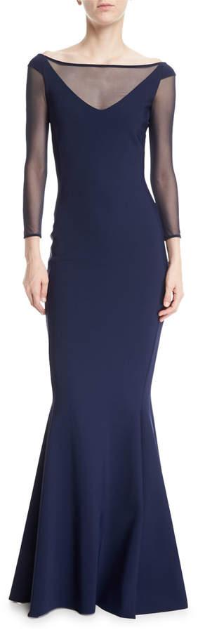 Chiara Boni Bateau-Neck Illusion Bow-Back Trumpet Evening Gown