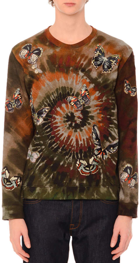 Valentino Butterfly-Embroidered Long-Sleeve Tie-Dye T-Shirt Green Multi