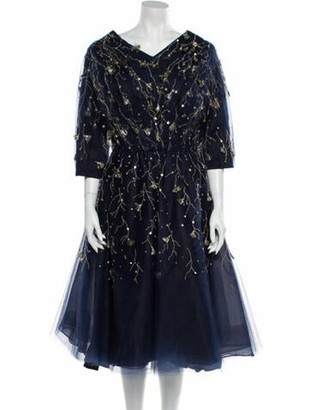 Oscar de la Renta Silk Embellished Dress