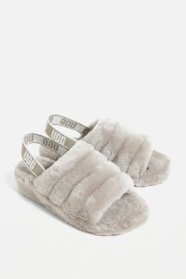 UGG Fluff Yeah GOAT Grey Slide Sandals - Grey UK 7 at Urban Outfitters