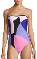 Kate Spade Colorblock Bandeau One-Piece Swimsuit
