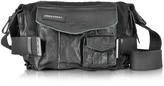 DSQUARED2 Medium Black Canvas and Leather Military Shoulder Bag