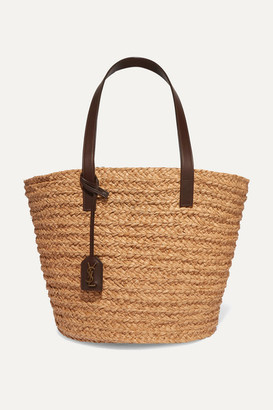 Saint Laurent Panier Medium Leather-trimmed Raffia Tote - Brown