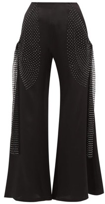 Romance Was Born Crystal Net-trim Silk-charmeuse Flared Trousers - Black
