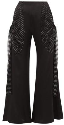 Romance Was Born Crystal Net-trim Silk-charmeuse Flared Trousers - Womens - Black