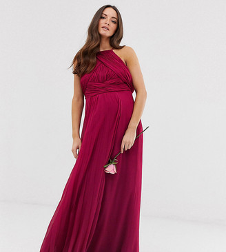 ASOS DESIGN Maternity Bridesmaid pinny maxi dress with ruched bodice