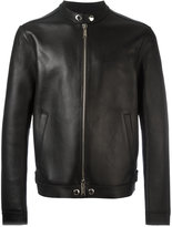 DSQUARED2 lapel-less streamlined biker jacket - men - Leather/Polyamide/Spandex/Elastane/Viscose - 48