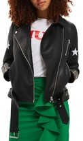 Topshop Women's Sisters Faux Leather Biker Jacket