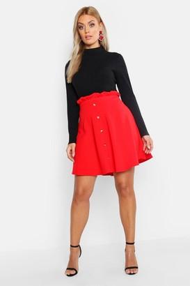boohoo Plus Paper Bag Button Detail Skater Skirt