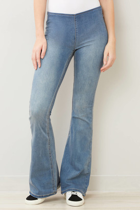 Free People Penny Pull On Flare Jean in Authentic Blue Medium Denim 25