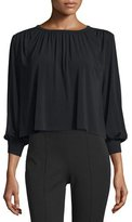 Elizabeth and James Juniper Shirred Boxy Jersey Top, Black