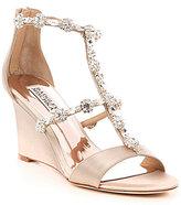 Badgley Mischka Jeweled Satin Tabby Wedge Sandals
