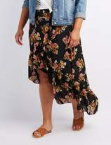 Charlotte Russe Plus Size Floral Ruffle-Trim High-Low Skirt