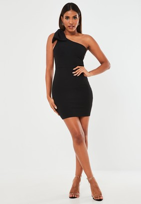 Missguided Black Scuba Crepe Bow One Shoulder Mini Dress