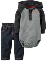 Carter's Baby Boy Hooded Long Sleeve Bodysuit & Faux-Denim Pants Set
