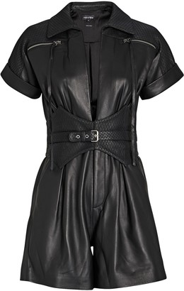 retrofete Susan Leather Short Sleeve Romper