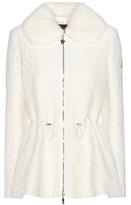 Moncler Gamme Rouge Cloqué Wool-blend Fur-trimmed Jacket