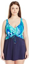 Maxine Of Hollywood Women's Plus-Size Wave Ride Shirred Front Empire