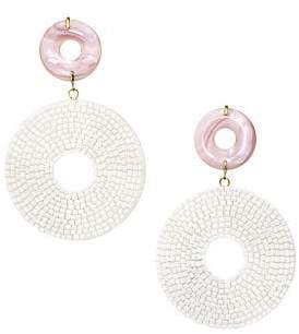 Lizzie Fortunato Women's Soleil 18K Goldplated Pink Mother-Of-Pearl Beaded Disc Drop Earrings