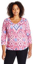 Caribbean Joe Womens Plus-Size 3 4 Sleeve V-Neck with Side Rouch