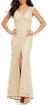Aidan Mattox Illusion Sleeve V-Neck Metallic Lace Gown