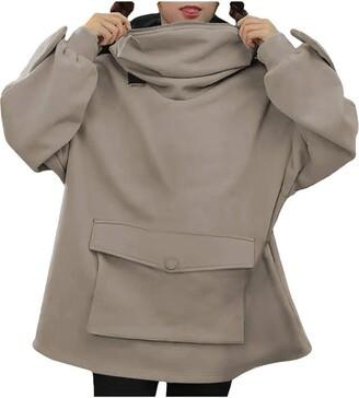 Boizan Women's Sweatshirt Women Frog Hoodie Long Sleeve Oversized Cute Head Zip up Hooded Top Sweatshirt Loose Pullover Oversized Super Soft Warm