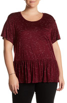 Bobeau Slub Pocket Baby Doll Knit Tee (Plus Size)