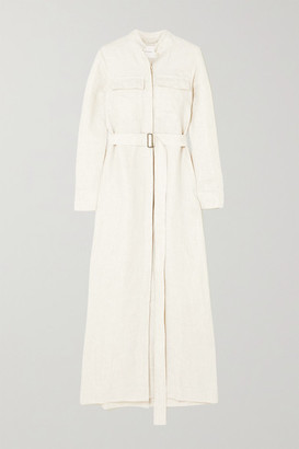 BONDI BORN Belted Linen Maxi Dress - White