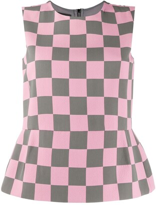 Emporio Armani Checkered Sleeveless Top