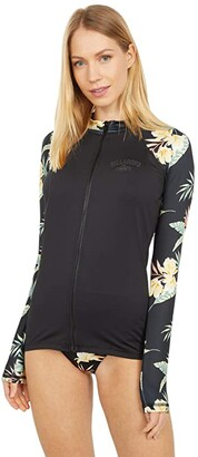 Billabong Night Sesh Long Sleeve Zip Rashguard (Black Pebble) Women's Swimwear