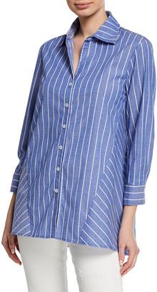 Finley Reverse Pinstripe Button-Front 3/4-Sleeve Trapeze Shirt