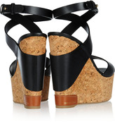 Sergio Rossi Leather and cork-wedge sandals