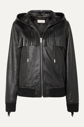 Saint Laurent Hooded Fringed Wool-trimmed Leather Jacket - Black
