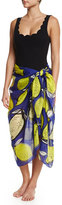 Anna Coroneo Lemons Classic Voile Pareo, Blue/Yellow