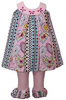 Bonnie Jean Bonnie Baby Girls Newborn-24 Months Mixed-Printed Paneled Dress & Leggings Set