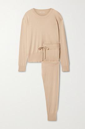 Morgan Lane Charlee Hailey Metallic-trimmed Cotton-blend Pajama Set - Sand