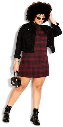 City Chic Check In Dress - red