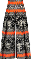 Milly Pleated printed cotton-blend culottes