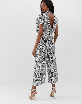 ASOS DESIGN jacquard animal open back cowl neck jumpsuit