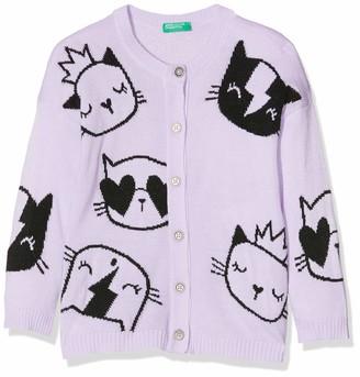 Benetton Girl's Cardigan Disegno Gatto Lurex Purple (Lilac 26g) 90 (Size: 2Y)