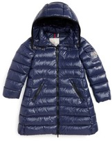Moncler Girl's Moka Long Hooded Waterproof Down Jacket