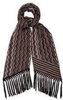 Missoni Fringed zigzag-intarsia wool-blend scarf