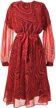 Stella Jean Marble-Print Tie-Waist Midi Dress