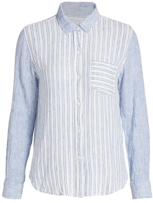 Rails Charli Mixed-Stripe Linen-Blend Blouse