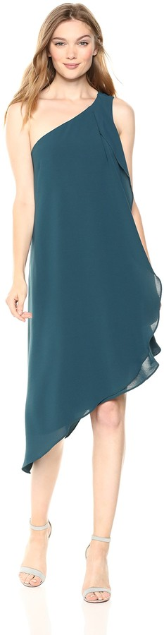 Adrianna Papell Women's ONE-Shoulder Draped Gauzy Crepe Dress