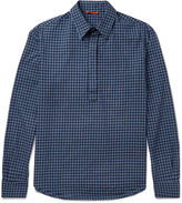 Barena - Slim-fit Half-placket Gingham Cotton Shirt
