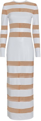 Norma Kamali Splice Striped Sheer Knit Dress