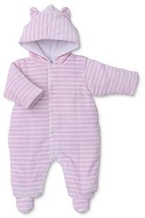 Kissy Kissy Girls' Striped & Hooded Velour Footie - Baby